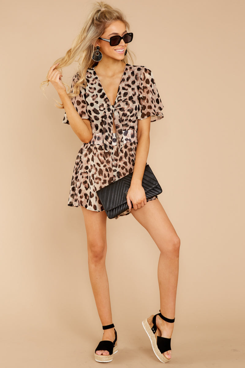 Think We Oughta Leopard Romper In Tricky Intentions