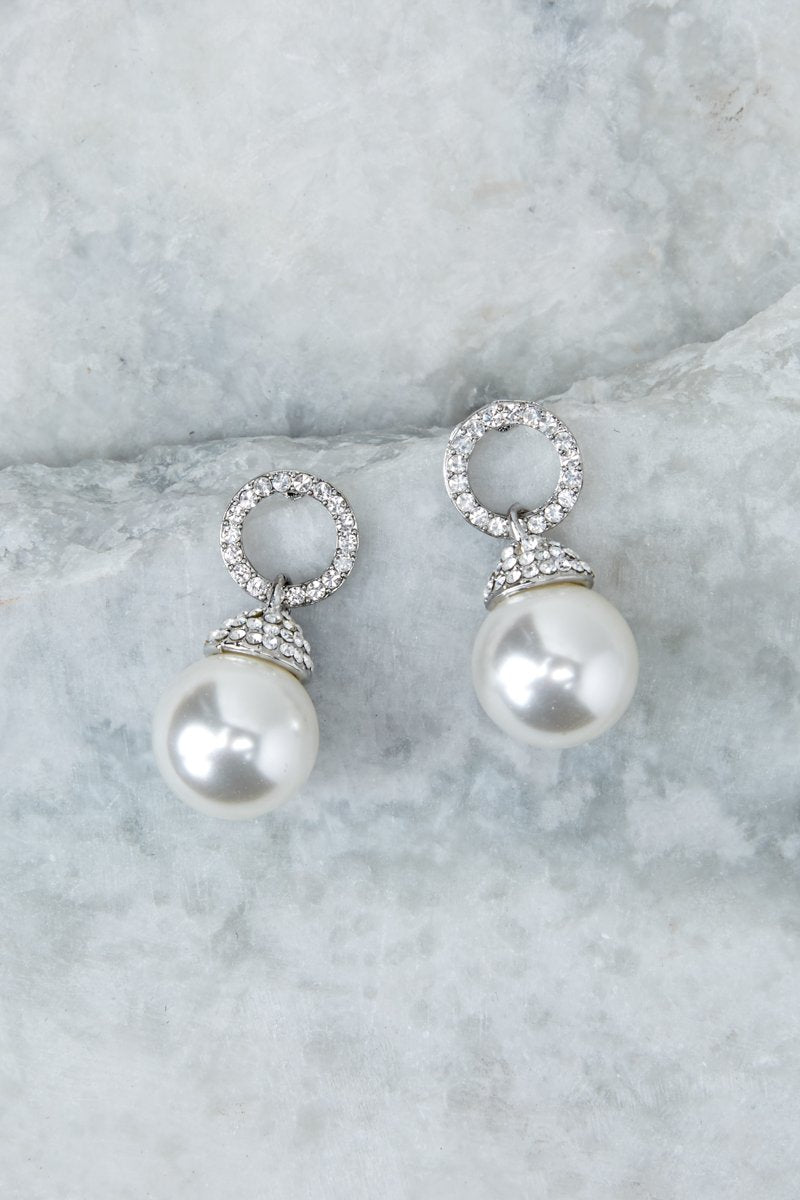 3 Keep The Class Silver Pearl Earrings at reddressboutique.com