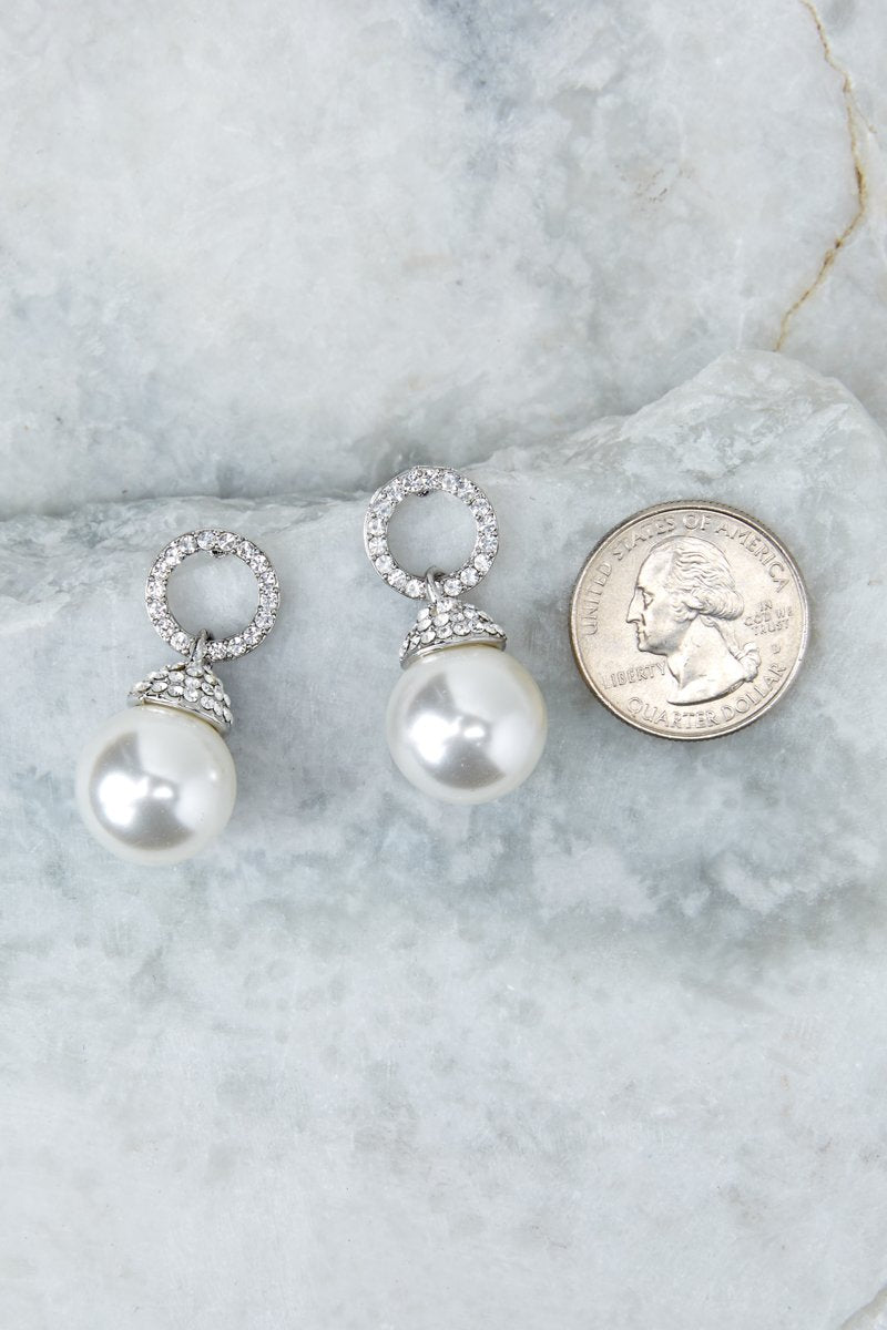 4 Keep The Class Silver Pearl Earrings at reddressboutique.com