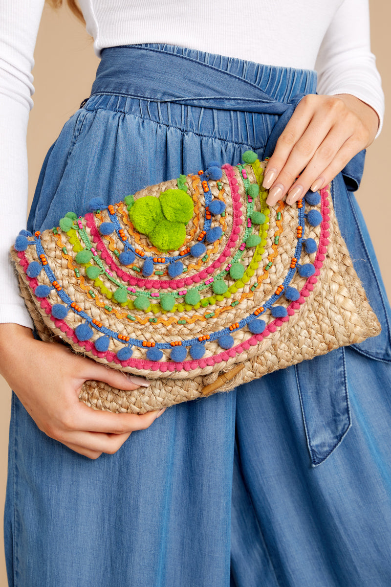 In The Breeze Green Multi Clutch