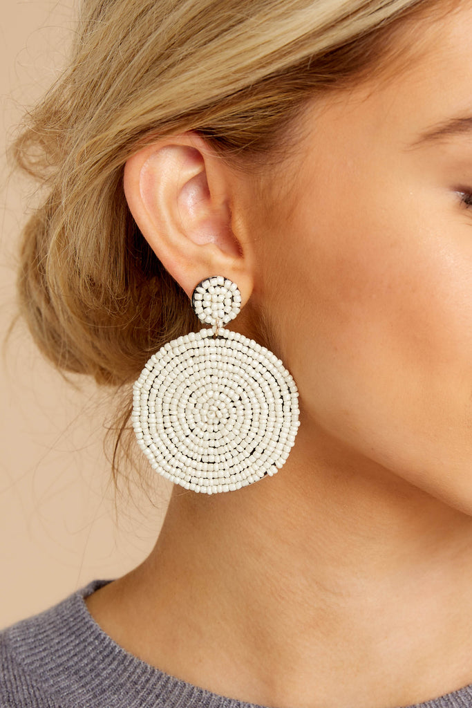 1 Summertime Called Ivory Beaded Earrings at reddressboutique.com