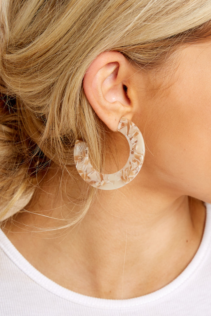 1 Summer's Song Beige Hoop Earrings at reddressboutique.com