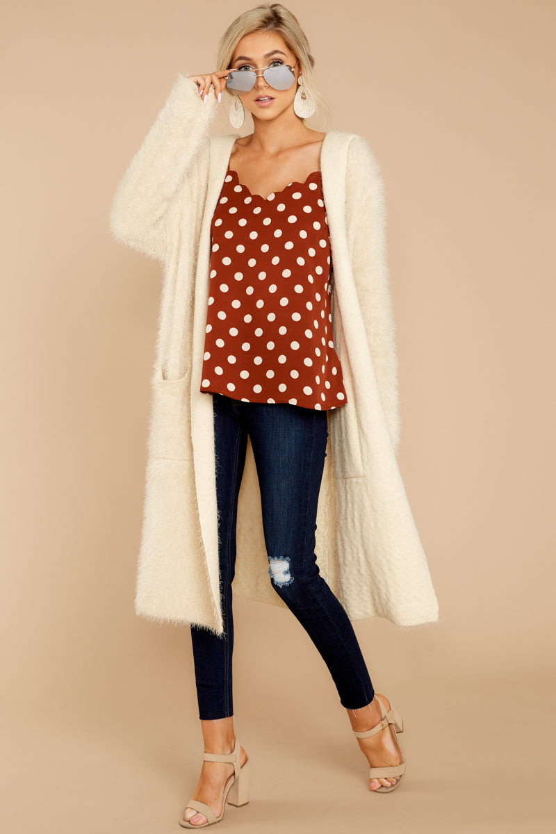 98bbf570b97 Cozy Ivory Duster Cardigan - Fuzzy White Open Front Cardi - Top ...