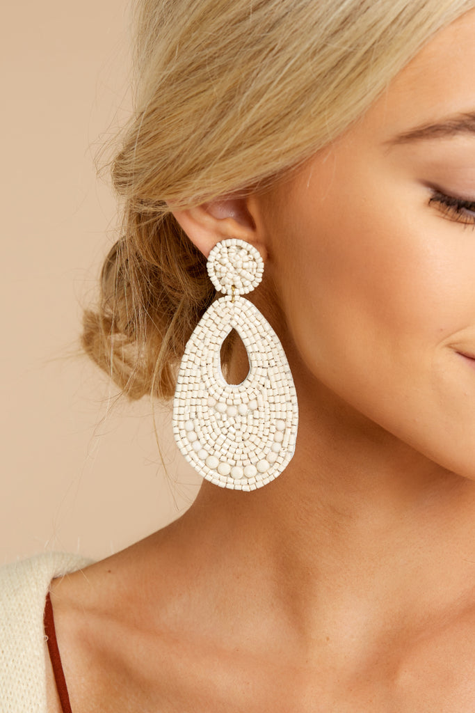 About That Time White Earrings