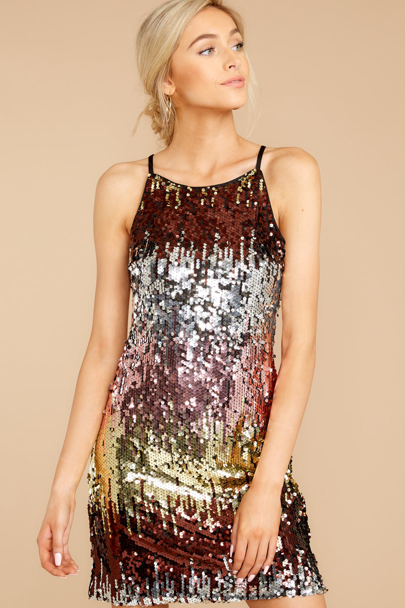 Colors All Around Rainbow Sequin Dress