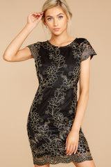 Glimmer In The Night Black Embroidered Dress