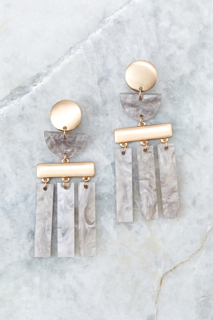 Water Through Stone Grey Tortoise Acrylic Earrings