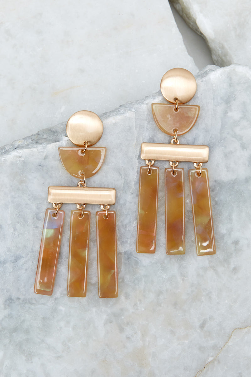 1 Well Within Brown Statement Earrings at reddressboutique.com