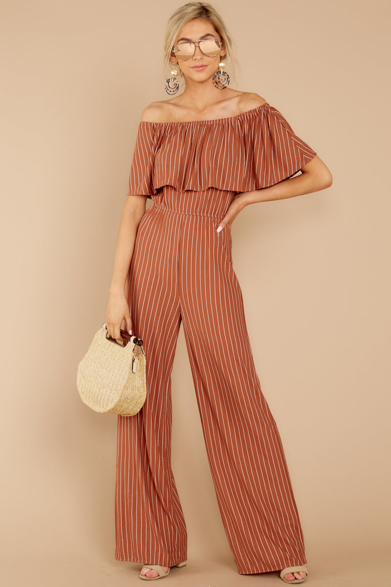 d93986194d1f Fun Rust Striped Jumpsuit - Off The Shoulder Jumpsuit - Playsuit ...