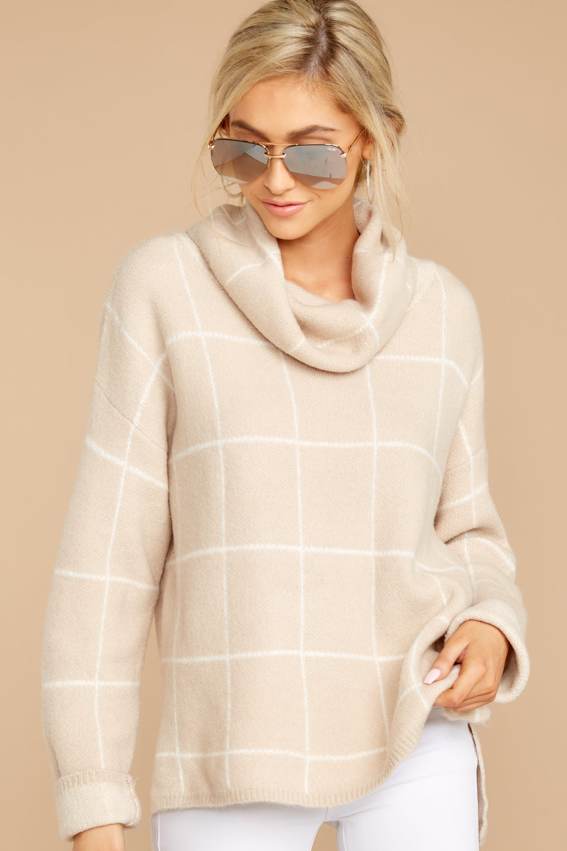 6 Across Central Park Beige Sweater at reddress.com