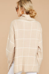 7 Across Central Park Beige Sweater at reddress.com