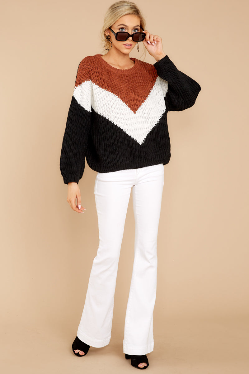 3 Wind In Your Sail Black Chevron Sweater at reddress.com