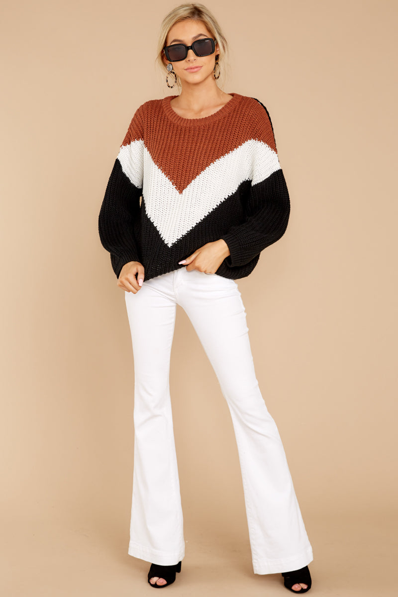 3 Wind In Your Sail Black Chevron Sweater at reddressboutique.com