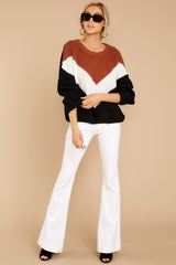 2 Wind In Your Sail Black Chevron Sweater at reddress.com