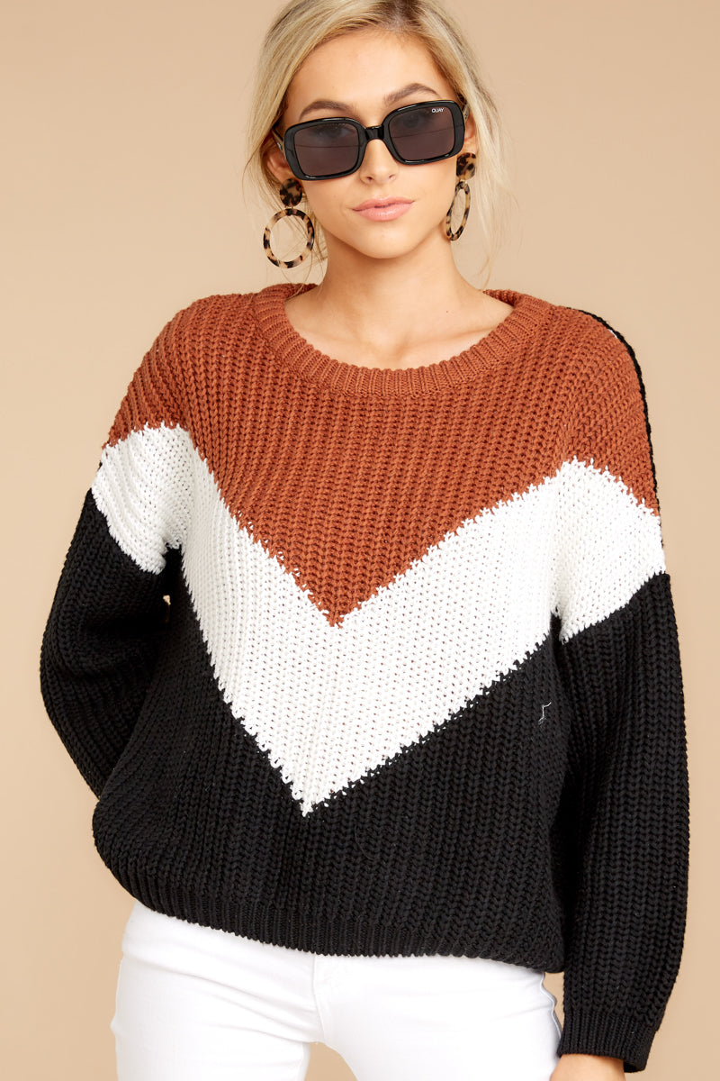 4 Wind In Your Sail Black Chevron Sweater at reddressboutique.com