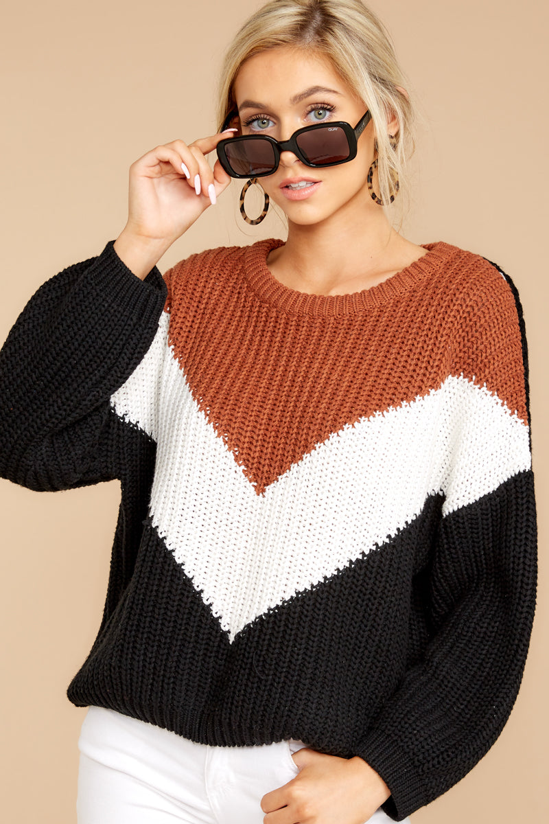 5 Wind In Your Sail Black Chevron Sweater at reddressboutique.com