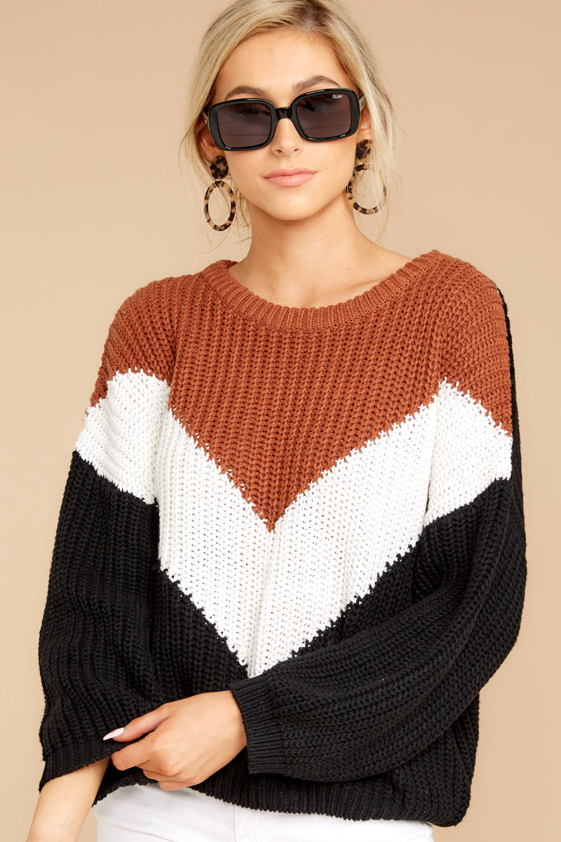 6 Wind In Your Sail Black Chevron Sweater at reddressboutique.com