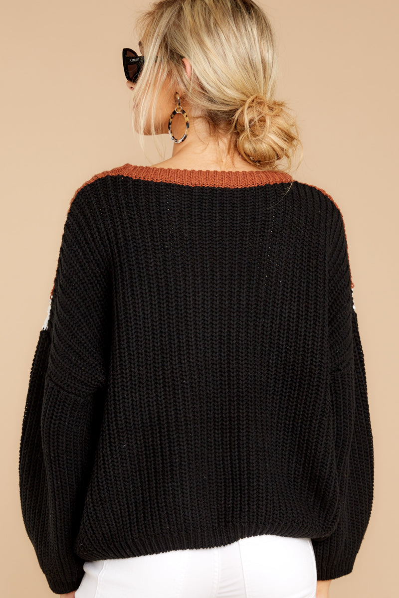 7 Wind In Your Sail Black Chevron Sweater at reddressboutique.com