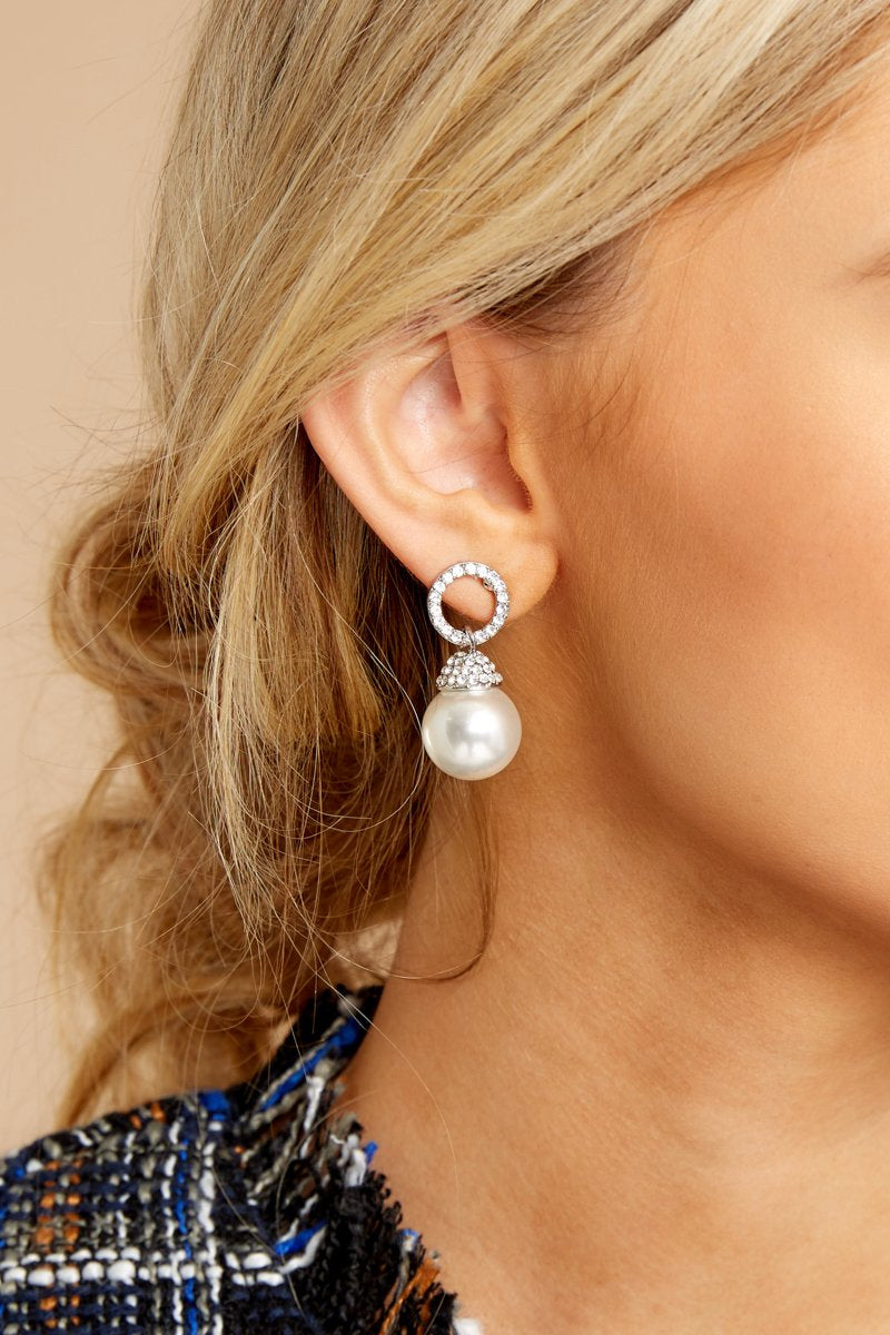 2 Keep The Class Silver Pearl Earrings at reddressboutique.com
