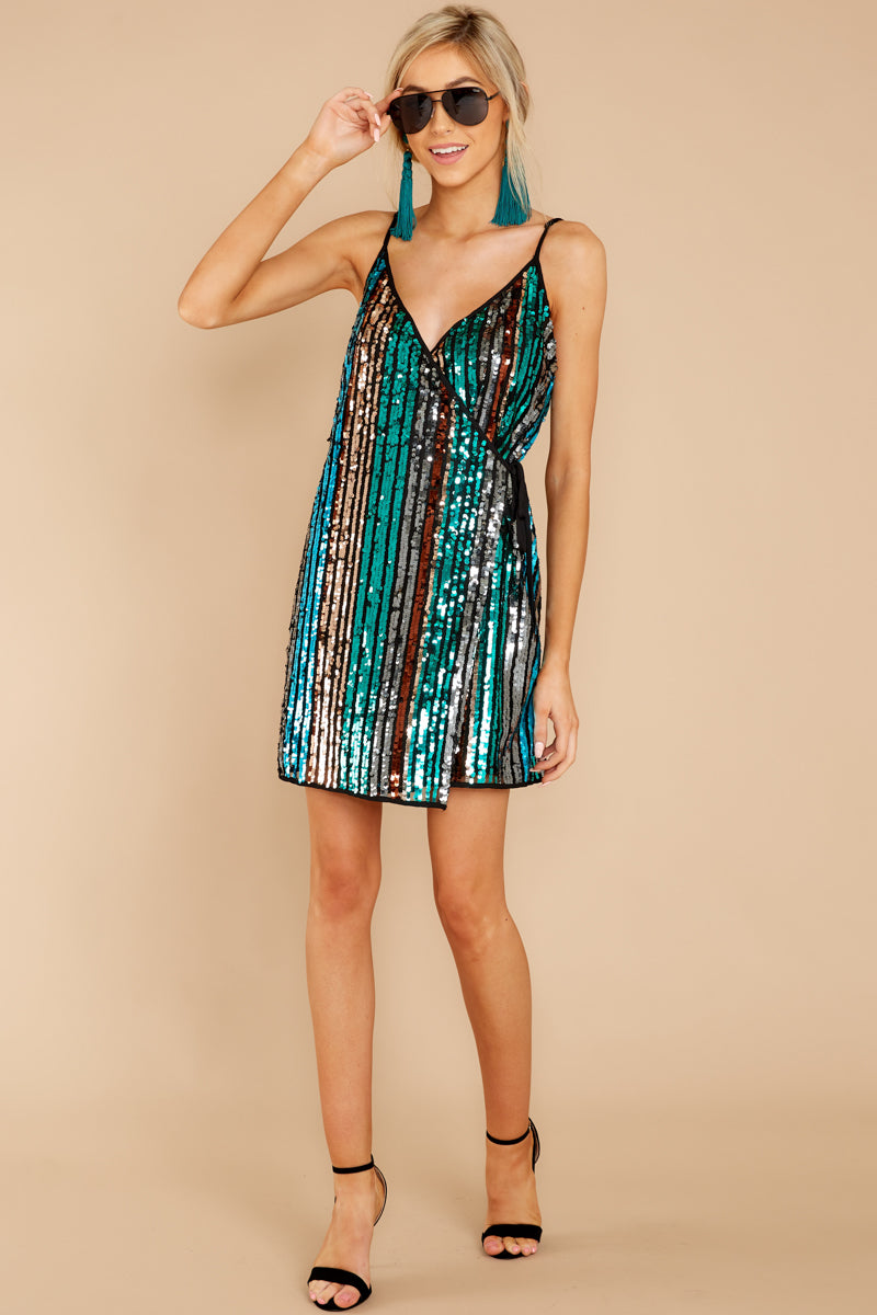 73e27412725 Fun Black Multi Sequin Dress - Shiny Rainbow Wrap Dress - Dress ...