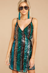 Don't Stop Green Sequin Wrap Dress