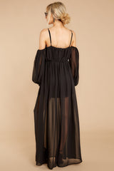 In French Vineyards Black Maxi Dress