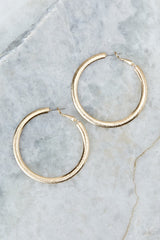 1 Admit The Truth Gold Hoop Earrings at reddress.com