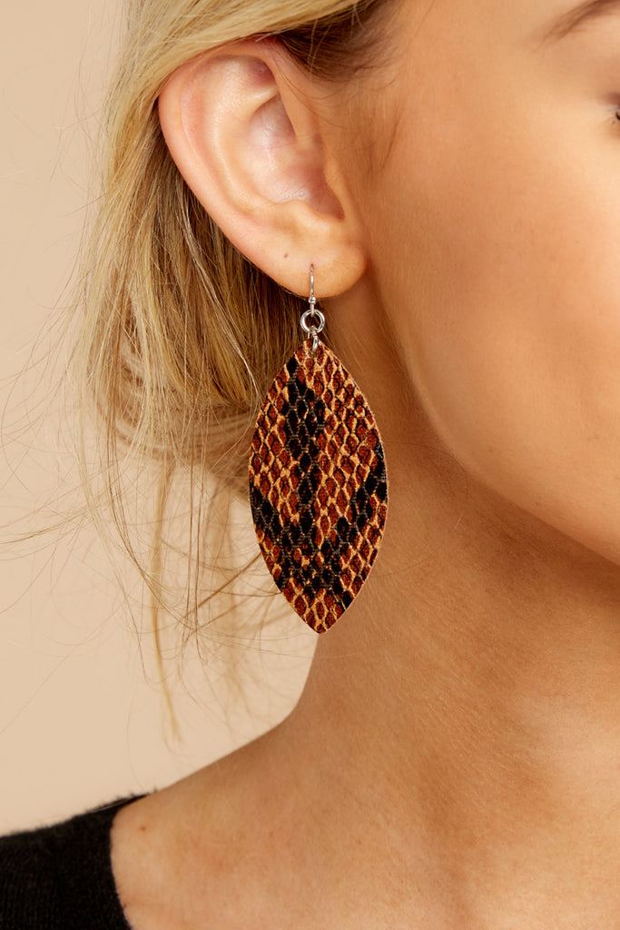 1 Hear Me Well Beige Snakeskin Earrings at reddressboutique.com