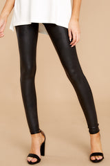 2 Black Faux Leather Leggings at reddressboutique.com