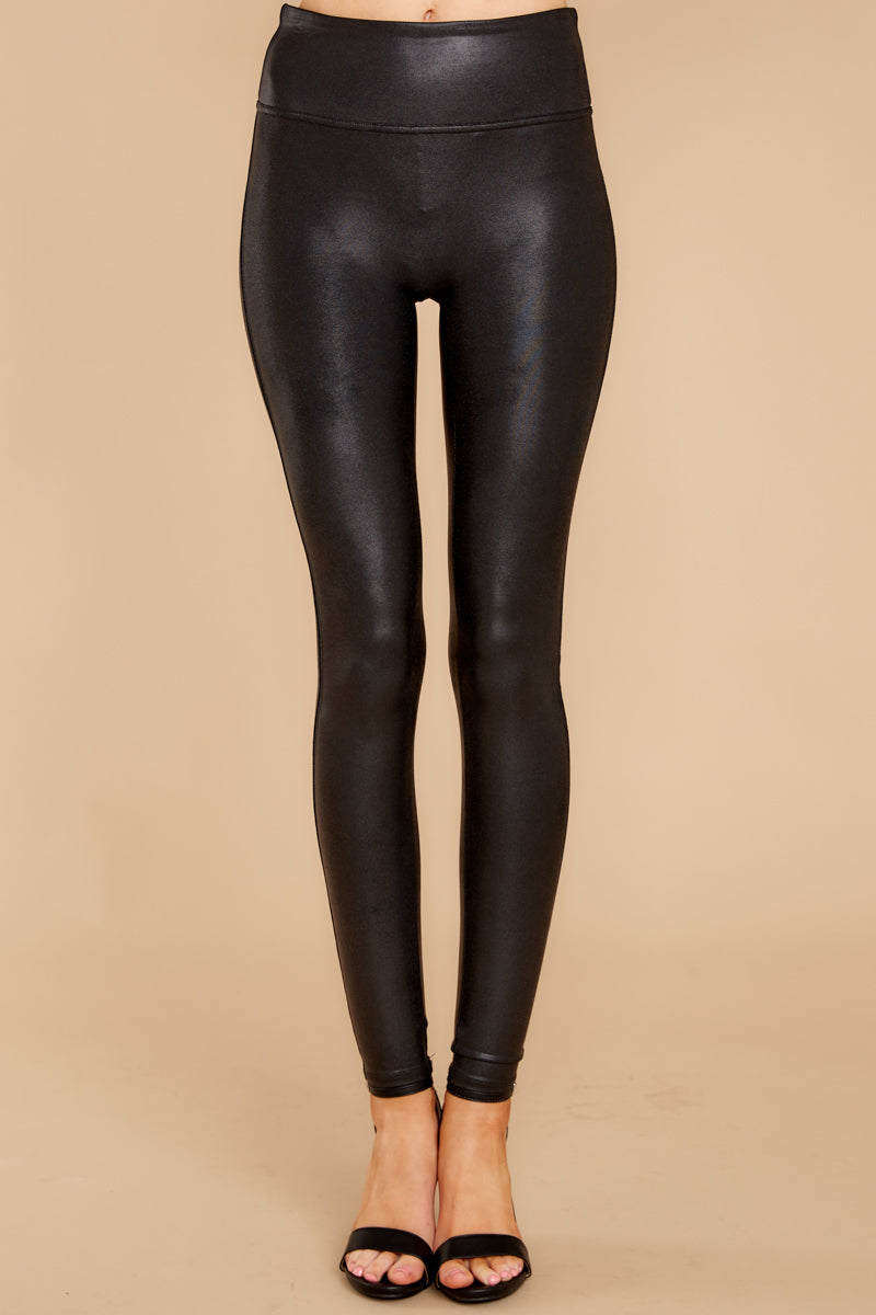 3 Black Faux Leather Leggings at reddress.com