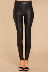 3 Black Faux Leather Leggings at reddressboutique.com