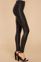 1 Black Faux Leather Leggings at reddress.com