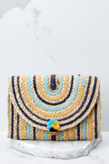 2 Wander Alone Blue and Yellow Clutch at reddressboutique.com