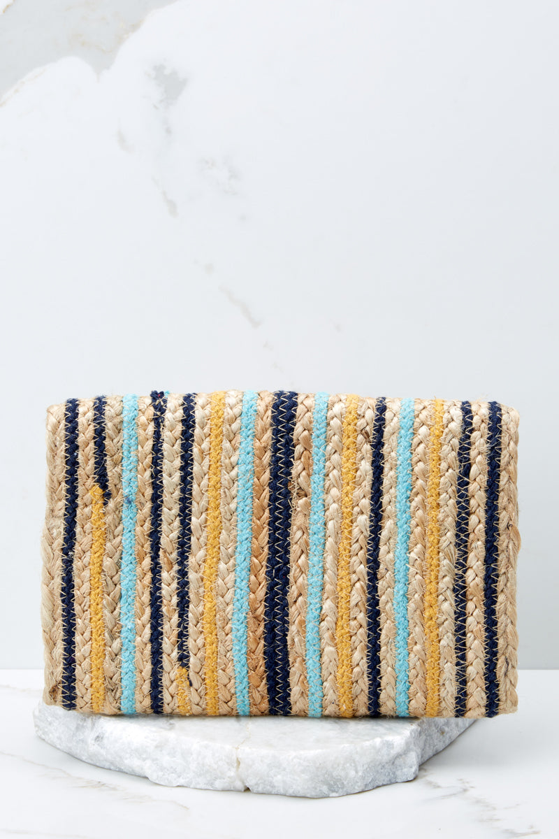 3 Wander Alone Blue and Yellow Clutch at reddressboutique.com