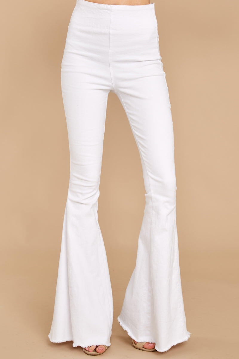 60s – 70s Pants, Jeans, Hippie, Bell Bottoms, Jumpsuits Diggin These White Flare Jeans $62.00 AT vintagedancer.com