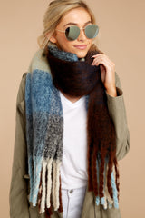 Wrapped In Warmth Blue Multi Scarf
