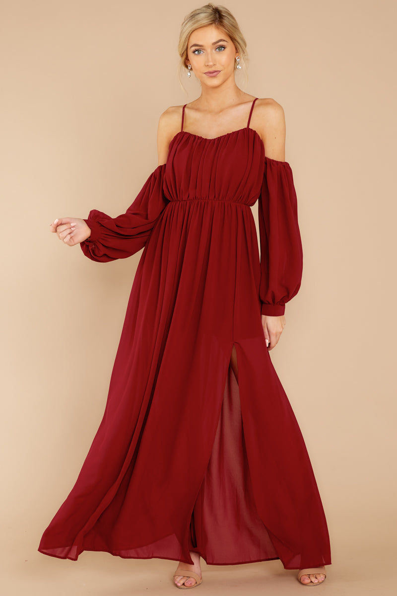 fccc76213f5e Chic Red Off The Shoulder Dress - Flowy Long Sleeve Maxi - Dress ...