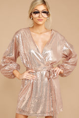 Sequined Prose Rose Gold Wrap Dress