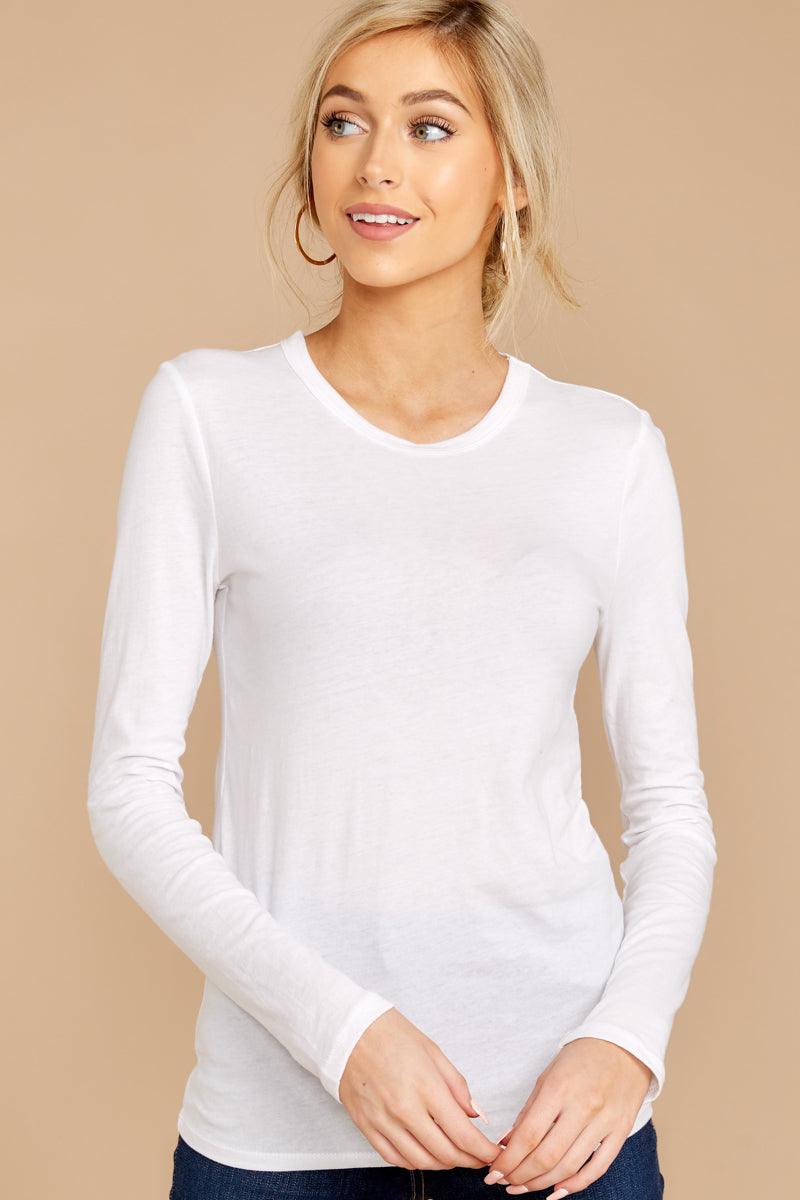 1 The Premium Cotton Fitted Long Sleeve Crew at reddressboutique.com