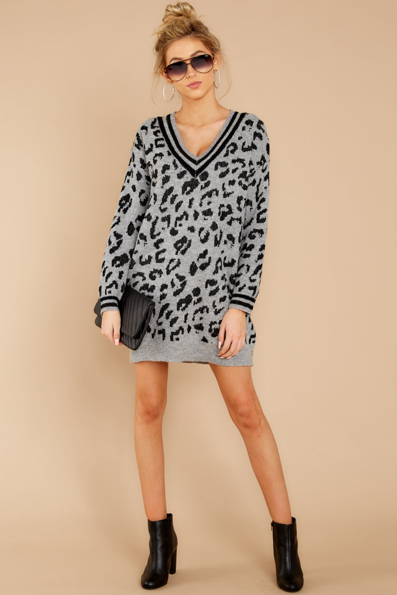 fc42ca7cf4 Trendy Grey Leopard Sweater Dress - Animal Print Sweater - Dress ...