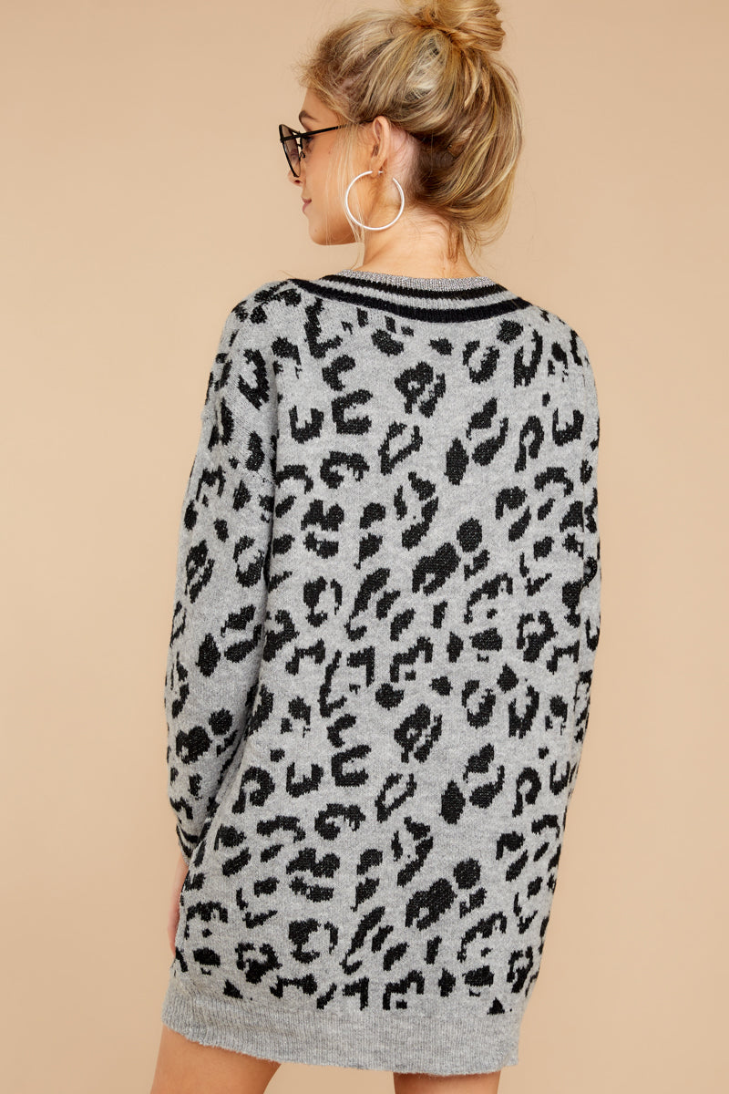 Can't Change Grey Leopard Print Sweater Dress