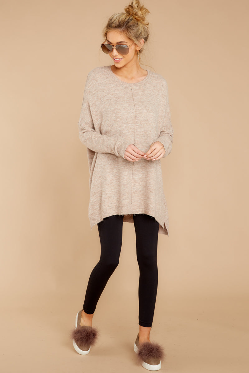 3 Glad You Came Heather Taupe Sweater at reddress.com