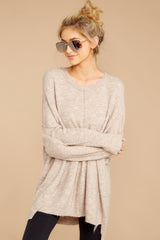 4 Glad You Came Heather Taupe Sweater at reddress.com