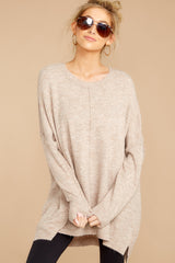 1 Glad You Came Heather Taupe Sweater at reddress.com