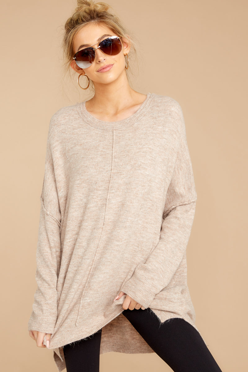 5 Glad You Came Heather Taupe Sweater at reddress.com