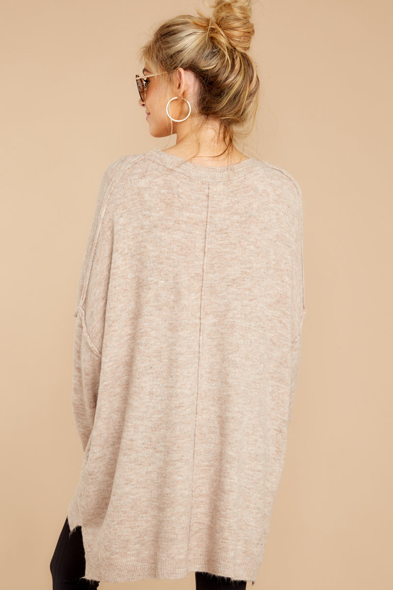 6 Glad You Came Heather Taupe Sweater at reddress.com