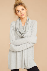Forever And A Day Heather Grey Cowl Neck Sweater
