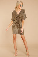 V-neck Short Dolman Sleeves Fitted Dress