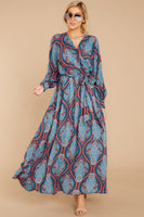 V-neck Long Sleeves Polyester Elasticized Tie Waist Waistline General Print Fall Belted Wrap Maxi Dress