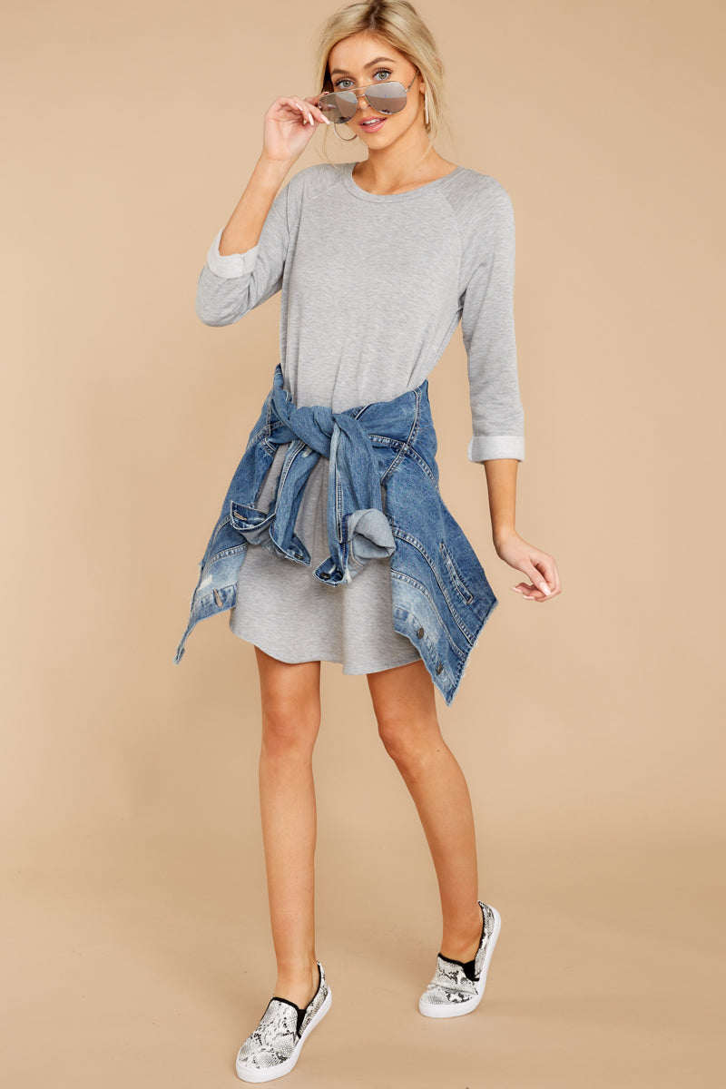2 Movers And Shifters Grey Sweatshirt Dress at reddressboutique.com